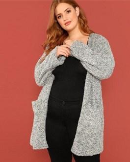 Plus Size Grey Long Trench  Women Winter Coat