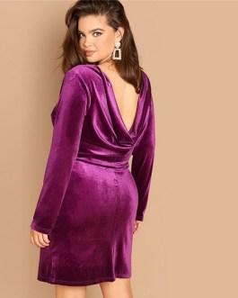 Plus Size Sexy Backless Purple Velvet Winter Party Dress