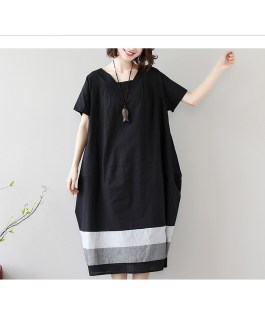 Loose Splicing Striped Cotton Short Sleeve Dress