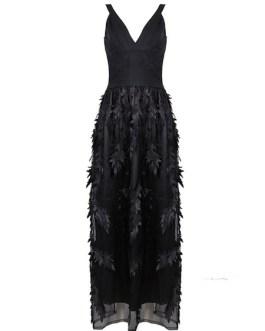 Party Dresses Women V Neck Sleeveless Layered Maxi Dress