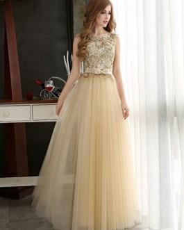 Prom Dresses Light Gold Lace Tulle Long Graduation Dress Bow Sash Floor Length Party Dress