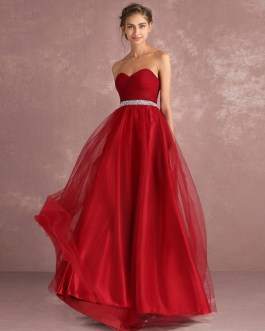 Long Strapless Backless Tulle Sweetheart Sleeveless Rhinestones Sash A Line Prom Dress
