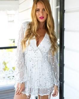 Sequin Mini Dress Glitter Sexy Party Dress V Neck Long Sleeve Short Dress For Women