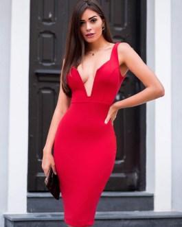 Sexy Party Dress Plunging Bodycon Dress Sleeveless Shaping Midi Dress
