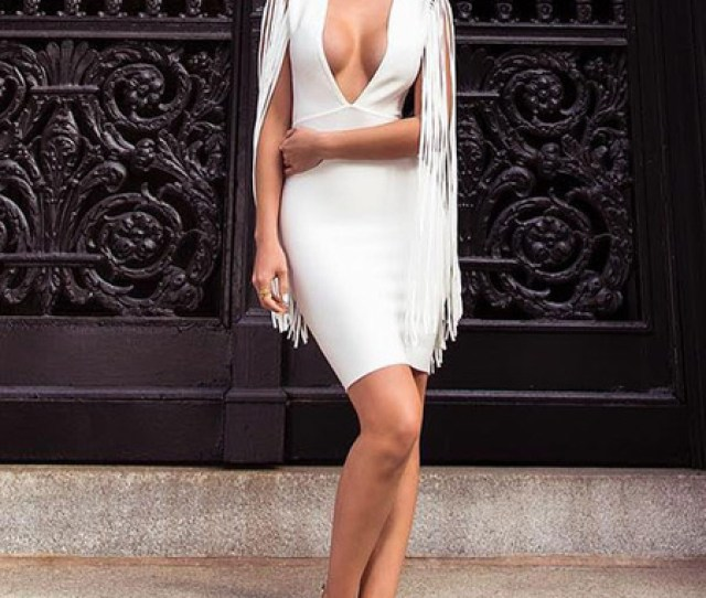 Sexy Party Dress White Fringe Plunging Women Bodycon Dress