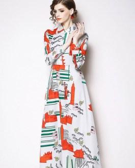 White Shirt Dress Turndown Collar Printed Long Dress