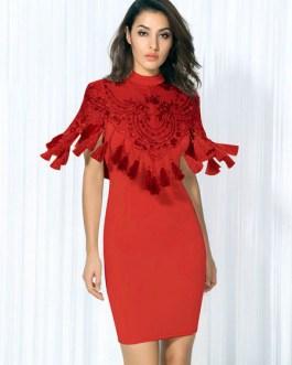 Women Dress Sequin Tassel Short Sleeve Women Party Dress
