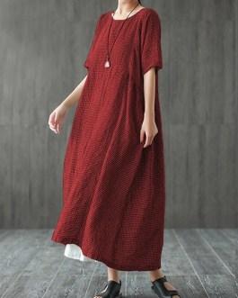 Women Retro Plaid Short Sleeve O-neck Long Shirt Vintage Dress