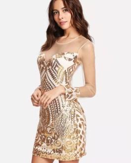 Women Sequin Dress Long Sheer Sleeves Luxury Zip Back Bodycon Party Dress