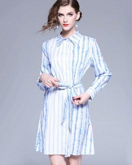 Blue Shirt Dress Turndown Collar Long Sleeve Striped Midi Dress