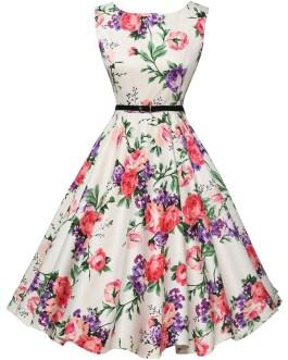 Printed Flower Vintage Dress