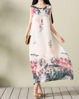 Vintage Print Layered Sleeveless O-neck Maxi Dresses