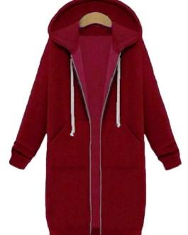 Zipper Long Sleeve Hooded Coat