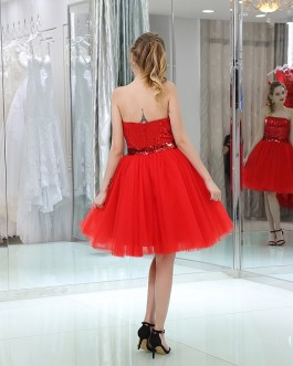 Cocktail Sleeveless Short Prom Sequined Tulle Party Dress