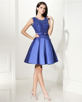 Elegant Lace Cocktail Knee Length Short Prom Dress Formal Party Gown