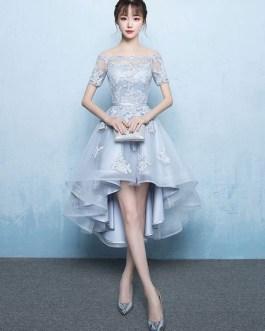 Off The Shoulder Applique Short Sleeve A Line Asymmetrical Graduation Dress