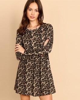 Multicolor Leopard Print A Line Mini Dress