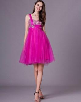 Rhinestone Beaded Prom Dress With One-Shoulder