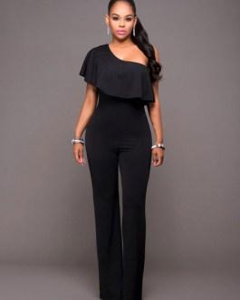 Women Black Jumpsuit Short Sleeve One Shoulder Wide Leg Jumpsuit