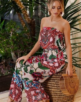 Women Strapless Floral Print Sexy Jumpsuits Spring Summer Dress