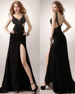 Black Prom Long Backless Evening Chiffon Formal Dresses