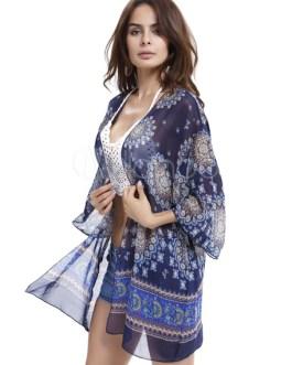 Chiffon Printed Kimono Women's Open Front Bikini Cover Up