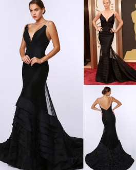 Sexy Deep V Mermaid Evening Dress Inspired by Charlize Theronk at Oscar