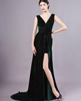 Sexy Evening Velvet Dark Green Long Prom Dress With Train