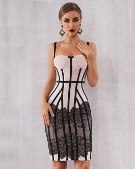 Sexy Summer Women Bodycon Lace Club Midi Celebrity Party Dress