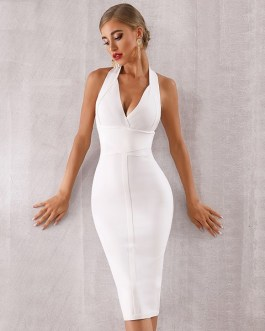 Women Bodycon Sexy Halter Vestidos Evening Party Dress