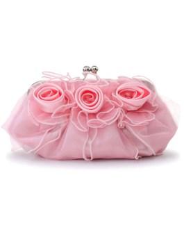 Evening Clutch Bag Wedding Rose Flowers Ruffle Kiss Lock Bridal Purse