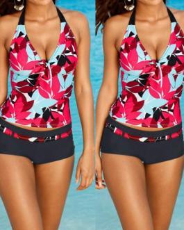 Flower Printed Bikini Set Halter Swimsuit Push Up Bikini Swimwear