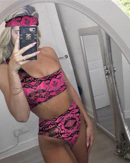 One Shoulder Snakeskin Push up Bikini With 3 Piece Bra+Bottoms+Headband Swimming Suit