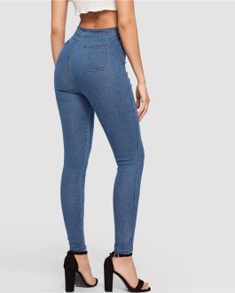 Woman Solid High Waist Denim Long Trousers