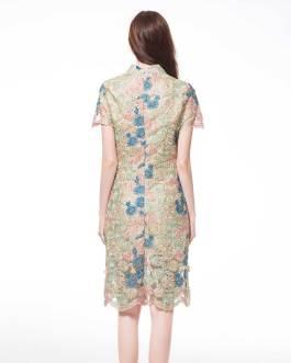 Women Elegant print lace embroidery Plus size party  Dress