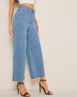Women Solid High Waist Crop Casual High Street Ladies Jeans