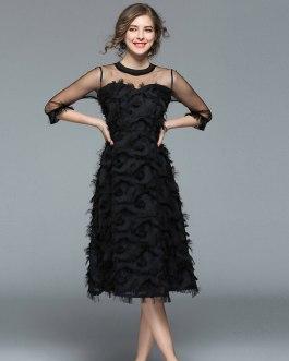 Women Tassel Mesh Patchwork feather Dress Sexy  Party Club Dress