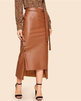 Brown Elegant Split Hem Front Double Button Belted Leather Look Long Skirt