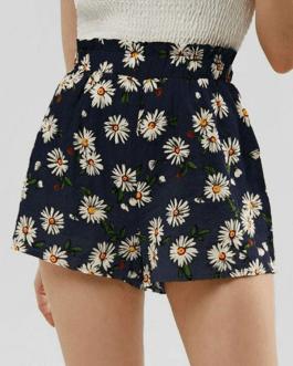 Daisy Print High Waist Casual Shorts