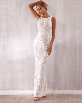 New Sequined Evening Party Sexy Sleeveless Tank Maxi Dress
