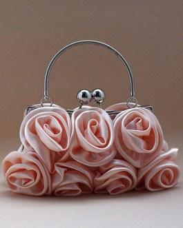 Sweet Flower Satin Woman's Clutch Bag