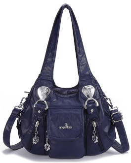 Women Casual Soft Leather Multi-Pockets Handbag