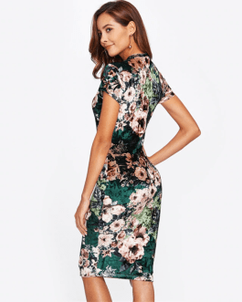 Women Floral Velvet Knee Length Elegant Pencil Dress