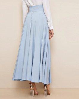 Women High Waist Elegant Blue Solid Zipper Belt A Line Skirt