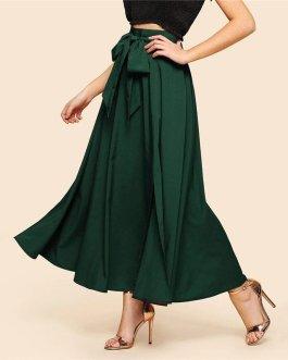 Women High Waist Plain Vintage Full Length Party Skirt