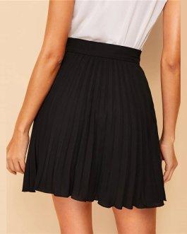 Women Preppy Black Solid Above Knee Skirt