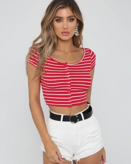 Women Striped Short Sleeve Buttons Crop Top