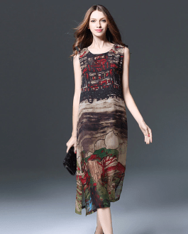 Women's fat mm hand-painted landscape painting chiffon Plus size Dress