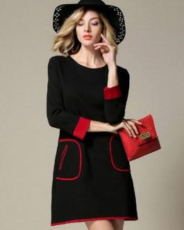Attractive Scoop Neck Color Block Pockets Shift Dress