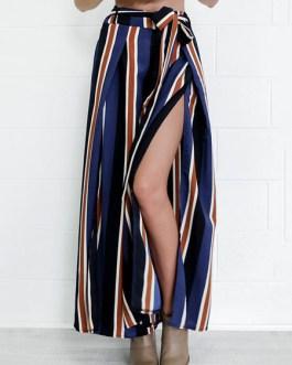 Blue Wide Leg Pants Women's High Waist Drawstring Split Casual Pants
